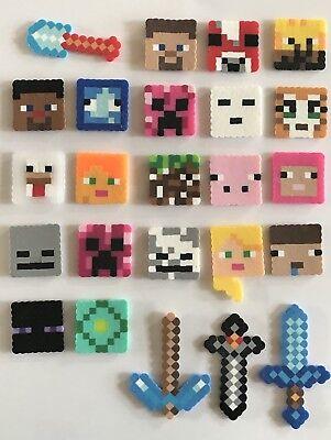 Set of 24 Handmade Minecraft Perler Bead Cupcake Toppers Birthday Cake Girl