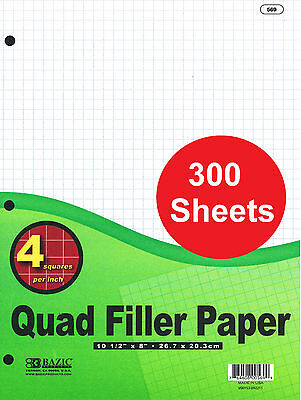 300 Sheets Hole Punched Filler Paper Quadrille Ruled Quad Ruled 10.5 X 8