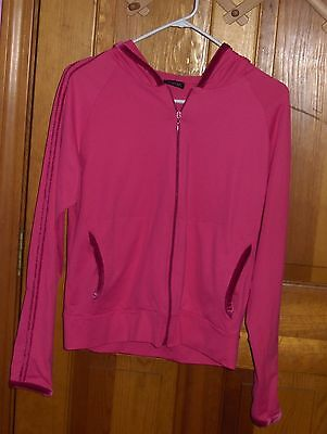Active Wear Pink Zippered Hoodie Workout Jacket Exercise Fitness Athlete Apparel