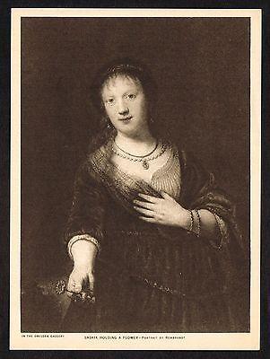 1910s Antique Saskia Holding Flower Rembrandt Gravure Art Print