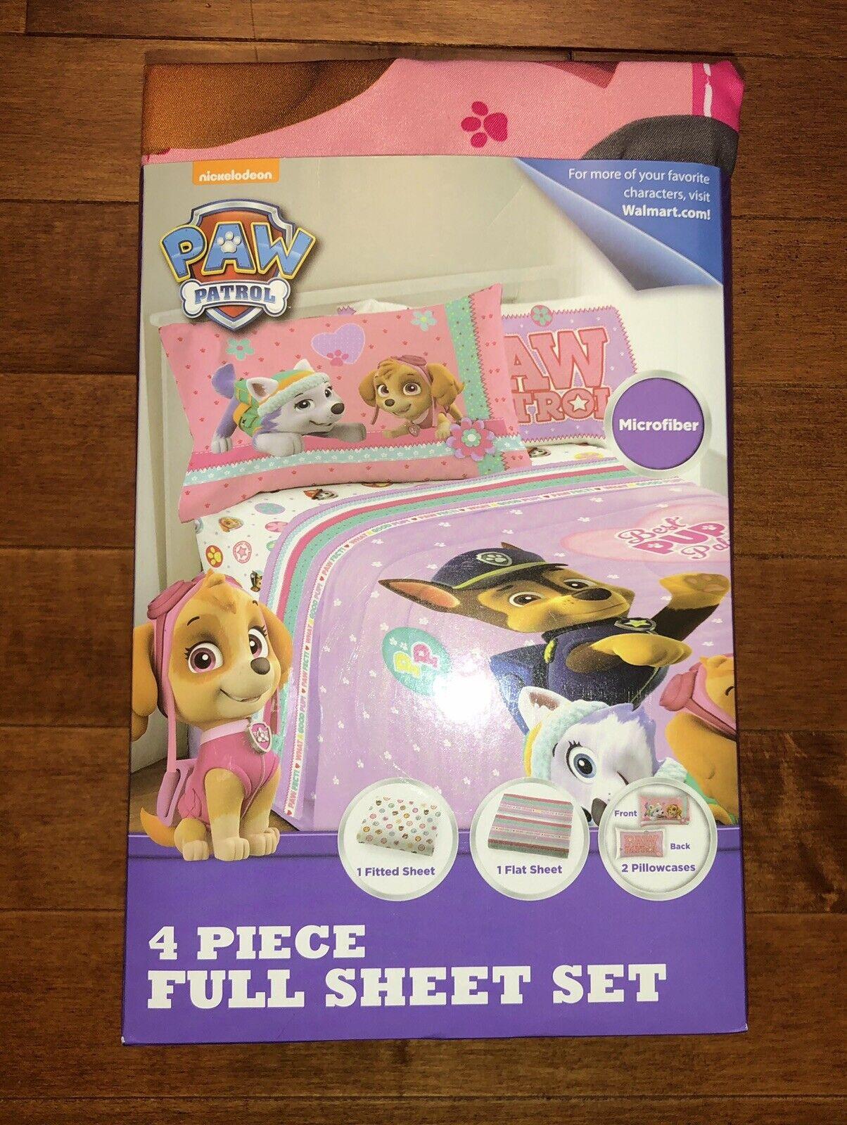 Paw Patrol Girl's 4 Piece Sheet Set Full Size Bedding New