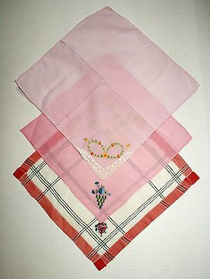 Vintage Lot of 3 Floral Flower Embroidered Cotton Hankies Pink