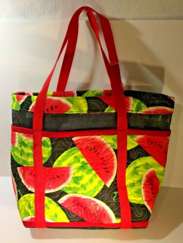 """Quilted Fabric Tote with Vinyl Mesh 14"""" x 20"""" x 6"""" Handmade One of a Kind Picnic"""