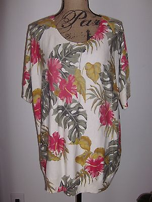 TALBOTS Refined Floral Dolman Short Sleeve Sweater NWT Cotton/Rayon Multi 1X