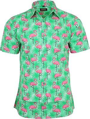 Run & Fly Mens Tropical Flamingo Print Short Sleeved Shirt VTG Retro Hawaiian