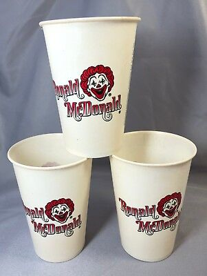 3 1960s RONALD McDONALD's Restaurant Dixie Wax Paper Cups Vintage Advertising