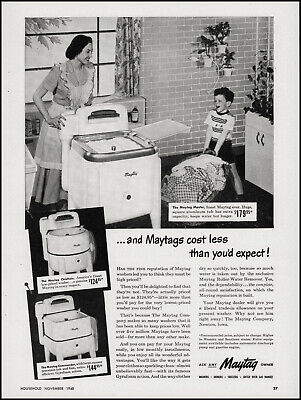 1948 Mother & Son Laundry Day Maytag Clothes Washers vintage photo print ad S18