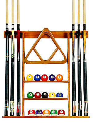 Cue Rack Only - 6 Pool Billiard Stick Wall Rack Holder Oak Finish Scratch + Dent
