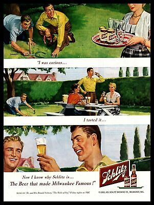 1950 Schlitz Beer Friends Drink Playing Horseshoes In Backyard Vintage Print Ad