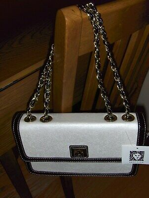 Anne Klein Black Patent and Ivory Chain-link Handbag