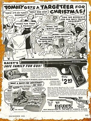 """1948 DAISY BB GUN AD 9"""" x 12"""" Metal Sign for sale  Shipping to United Kingdom"""