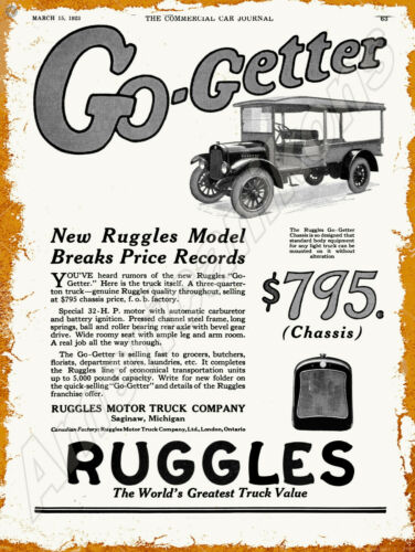 1923 Ruggles Motor Trucks New Metal Sign: Saginaw, Michigan