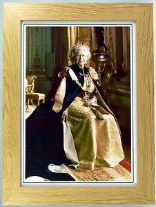 Framed, modern portrait print of Queen Elizabeth II, British Monarchs