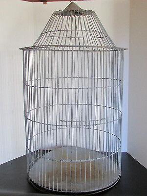 Vintage HUGE Galvanized Metal Wire Round Bird Cage Primitive Farm Usable
