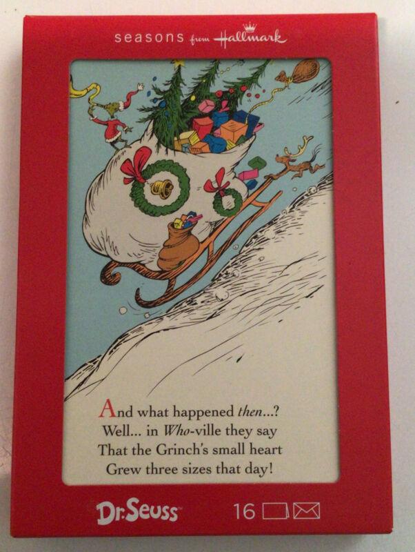 Hallmark Dr. Seuss The Grinch  Holiday Christmas Cards - Box of 16 - NEW