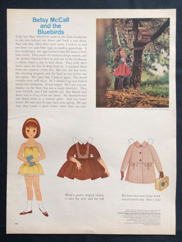 Vintage Betsy McCall Mag. Paper Doll, Betsy McCall and the Bluebirds, Sept. 1962