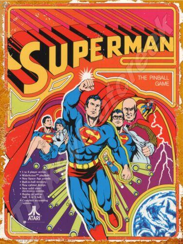 """ATARI SUPERMAN PINBALL 9"""" x 12"""" METAL SIGN"""