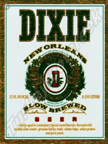 """DIXIE NEW ORLEANS BEER LABEL 9"""" x 12"""" SIGN"""