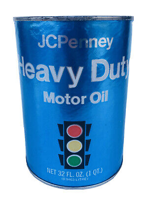 JC Penney Motor Oil Can Quart Stoplight Cardboard Metal Full SAE 20W-20 Vintage