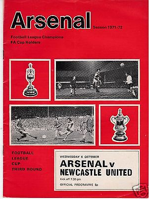 ARSENAL V NEWCASTLE UTD  LEAGUE CUP 6/10/71