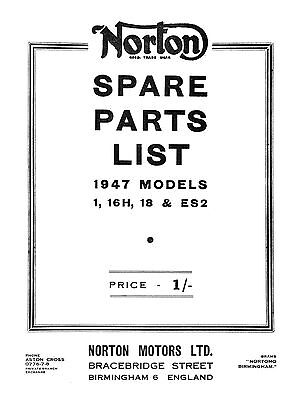 1947 Norton models 1, 16H, 18 & ES2 parts book
