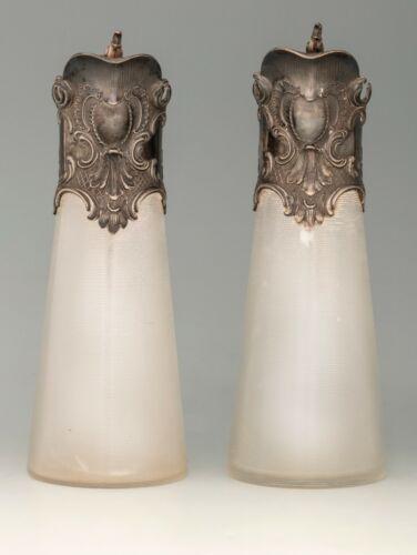 Antique tin Neorococo carafe pair - original glass