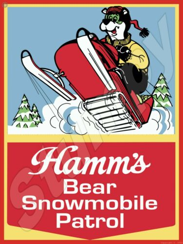 "Hamms snowmobile Metal Sign 9"" x 12"""