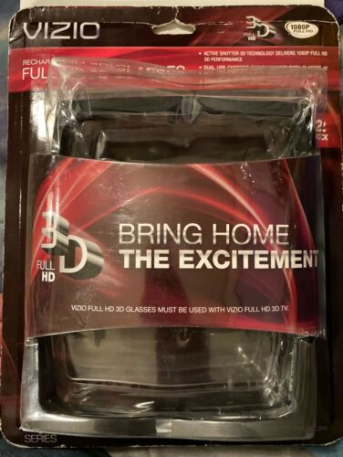 VIZIO VSG102 1080P Full HD 3D Glasses Black 2-Pack NEW