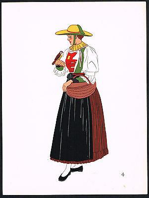 1930s Vintage Pfitsch Peasant Austrian European Woman Clothing Pochoir Art Print