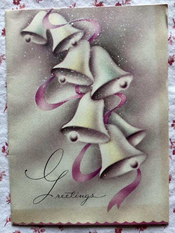 Vintage 1940s Christmas Greeting Card ~ Bells, Pink Ribbon, Church Snow Scene