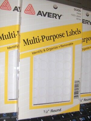 New 12 Inch Avery Round White 1000 Labels Self Adhesive All Purpose Labels