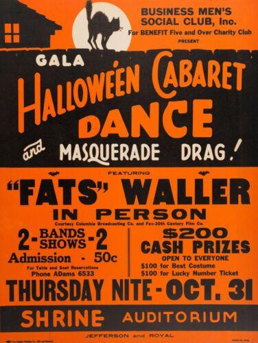 1941 Halloween Cabaret Dance Metal Sign: Thomas Wright Fats Waller Jazz Pianist