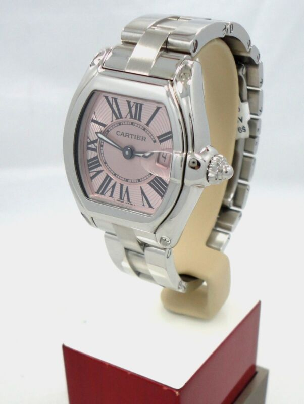CARTIER ROADSTER STAINLESS STEEL PINK SUNRAY DIAL LADIES WATCH 2675 W62017V3