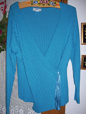 Damen Strickpullover Wickel Optik Gr. 42/ 44/ 46 L XL türkis blau Ececatcher Wow