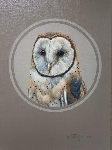 Original Bird Art Painting, Baron Owl by Judith Barnell, Oil on Canvas, Framed