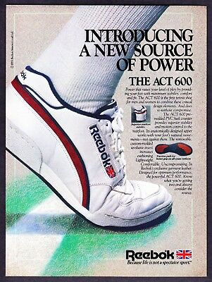 """1985 Reebok The ACT 600 Tennis Shoe photo """"New Source of Power"""" vintage print ad"""
