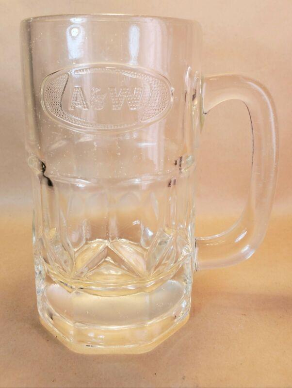 Vintage A & W Embossed 16oz  Root Beer Glass Mug Oval Logo