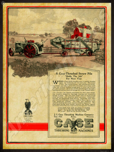 1922 Case Threshing Machine Co. New Metal Sign: Case Tractor w/ Thresher