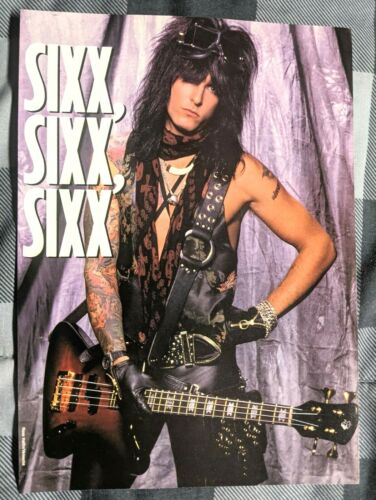 MOTLEY CRUE / NIKKI SIXX / MAGAZINE FULL PAGE PINUP POSTER CLIPPING (A5)