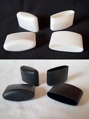 1 Fusskappe 41x16mm Schwarz/Weiß Stuhlkappe Schutzkappe Ellipsenrohr Gartenstuhl