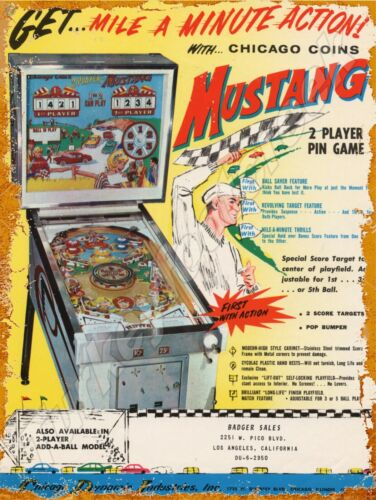 """CHICAGO COIN MUSTANG PINBALL 9"""" x 12"""" METAL SIGN"""