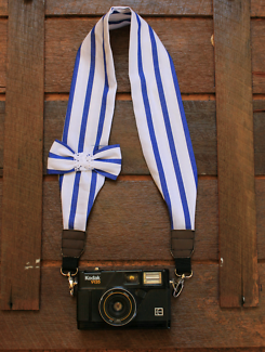 Blue and White Stripped DSLR Camera Strap