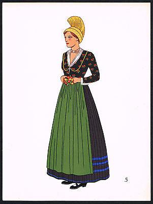 1930s Vintage Waldviertel Austrian European Woman's Clothing Pochoir Art Print