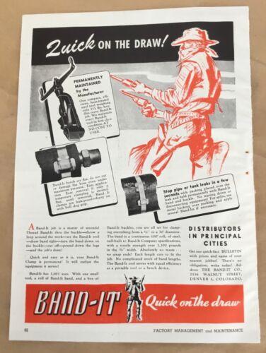 Band-It clamp tool machinery equipment print ad 1944 orig vintage 40s Cowboy art