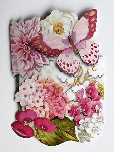 *PUNCH STUDIO Set of 6 Die Cut Blank Note Cards ~ Floral ~ Orchids ~ Butterfly