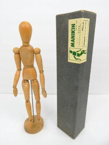 "1P Vintage Manikin Art Form Wood Male Figure 13"" w/ Box Japan 1950"