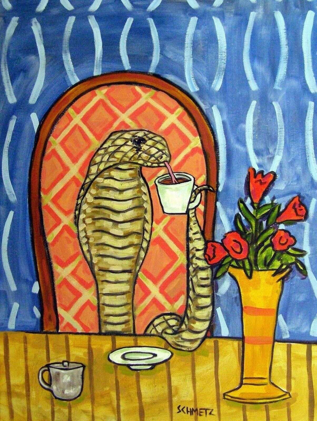 HIPPOPOTAMUS COFFEE 8x10  art PRINT animals impressionism