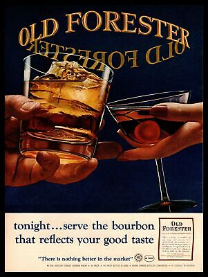 1965 Old Forester Bourbon Whiskey Low Ball And Martini Glasses Vintage Print Ad