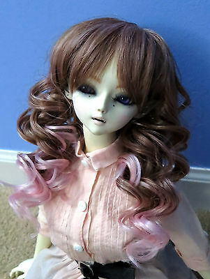 Doll Wig Long Layered Curly Brown, Light Pink Bjd Size 8, 9, 10