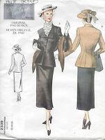 1948 Vintage Vogue Patrón De Costura Chaqueta & Falda B34,-36,-38, (r398) - vogue - ebay.es